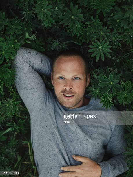 gut aussehender mann liegen in der natur - lying down stock-fotos und bilder