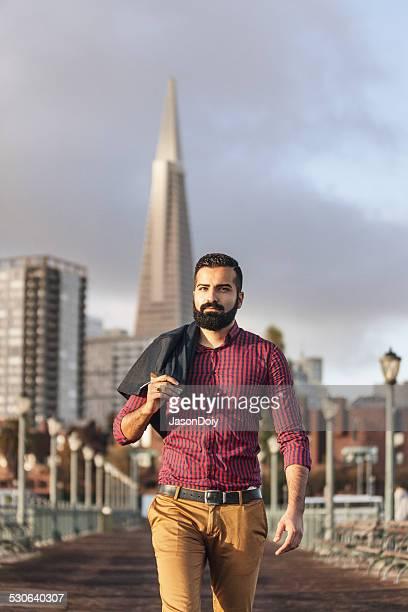 Handsome Man Pier Walk in San Francisco