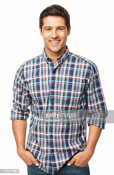 handsome man standing with hands in pockets - isolated - checked shirt stock photos and pictures