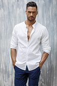 Handsome man wear white shirt and shorts