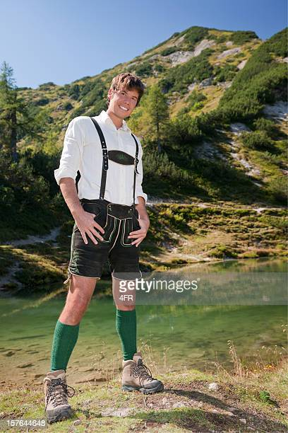 Handsome Man wearing Lederhosen, Austrian Alps (XXXL)