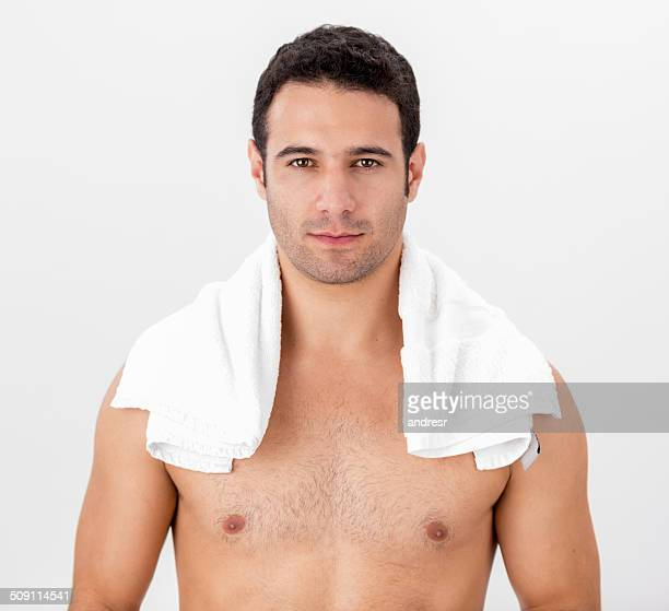 Handsome man with a towel