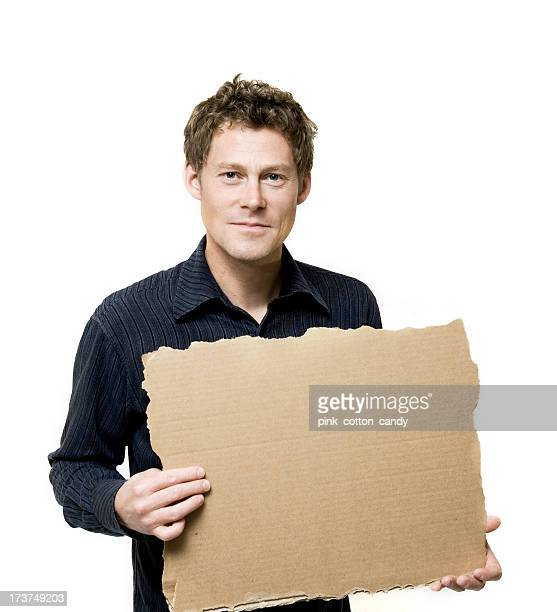 Handsome Man with Cardboard Sign