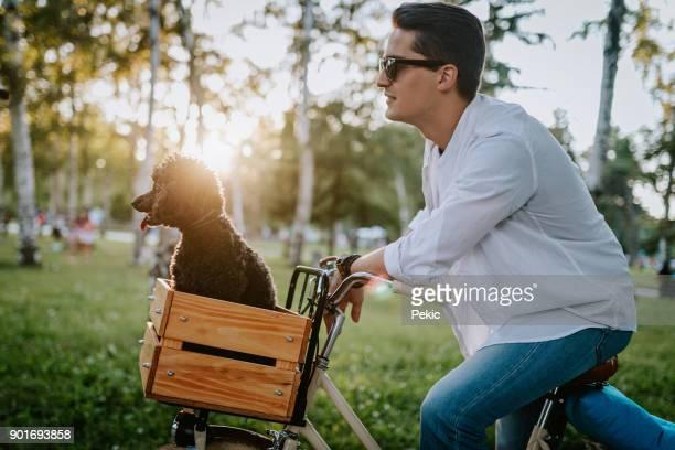bel homme avec chien mignon - velo humour photos et images de collection