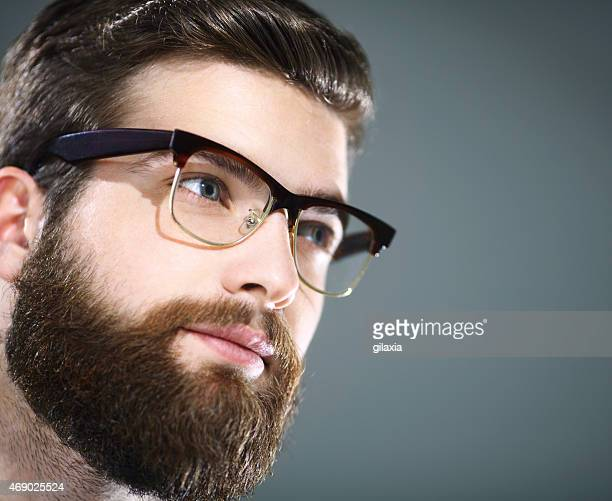 Handsome man with glasses.