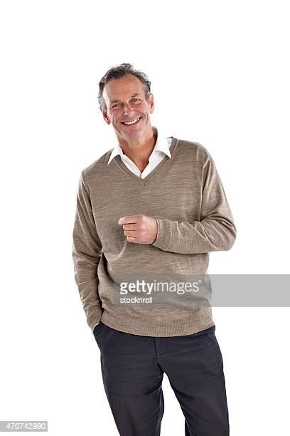 Schöner Reifer Mann schaut glücklich