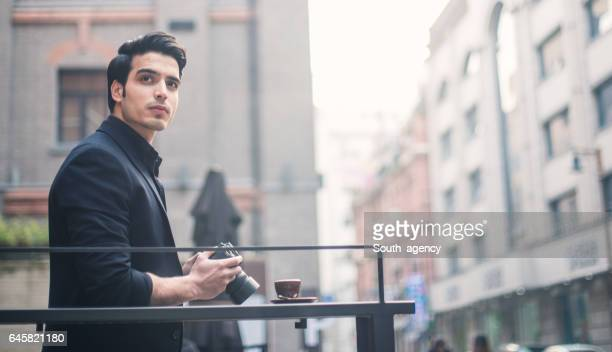 Handsome photographer outdoors