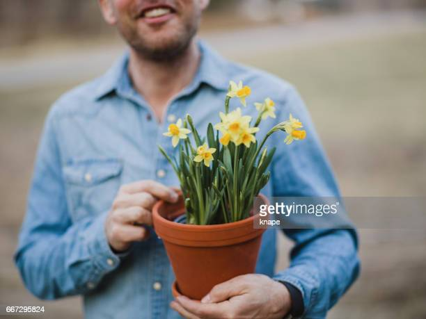 handsome real man outdoors in nature in spring with daffodils - daffodils stock photos and pictures