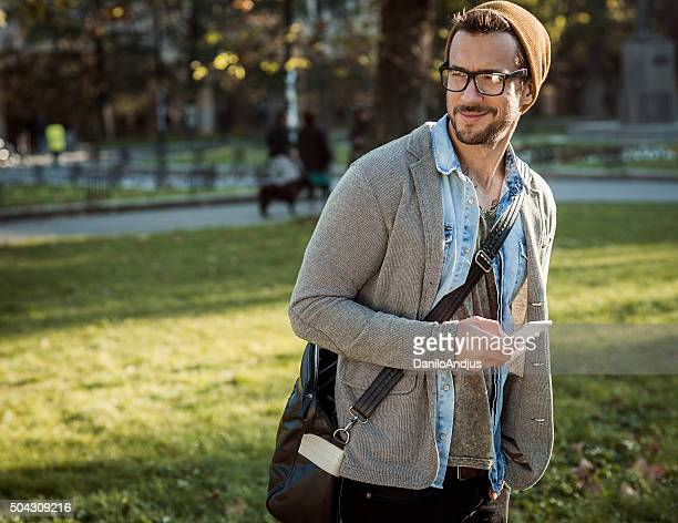 handsome stylish man using smart phone