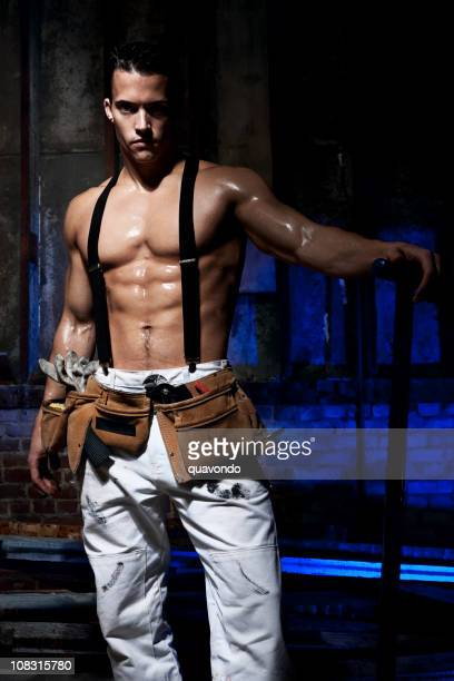 Buff, Handsome Sweaty Construction Worker with Six Pack, Copy Space