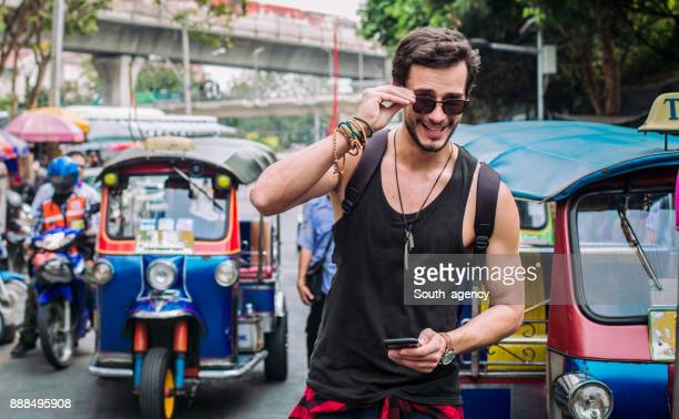 Handsome tourist on the street