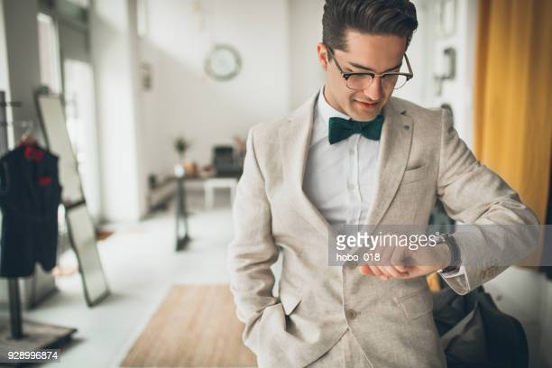 handsome well dressed man - bow tie stock pictures, royalty-free photos & images