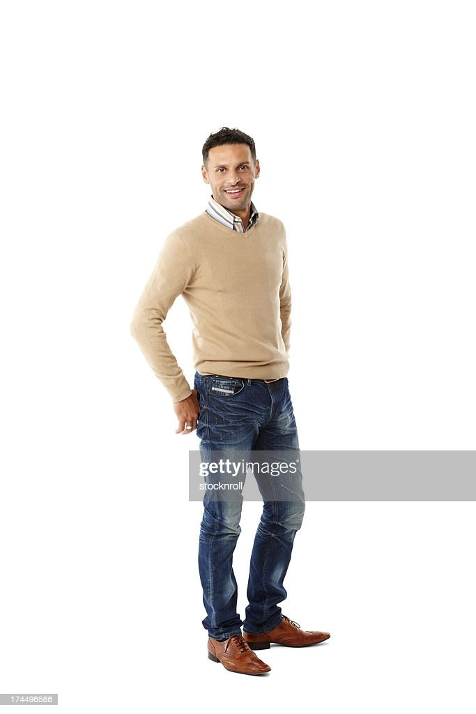 Handsome young guy standing casually : Stock Photo