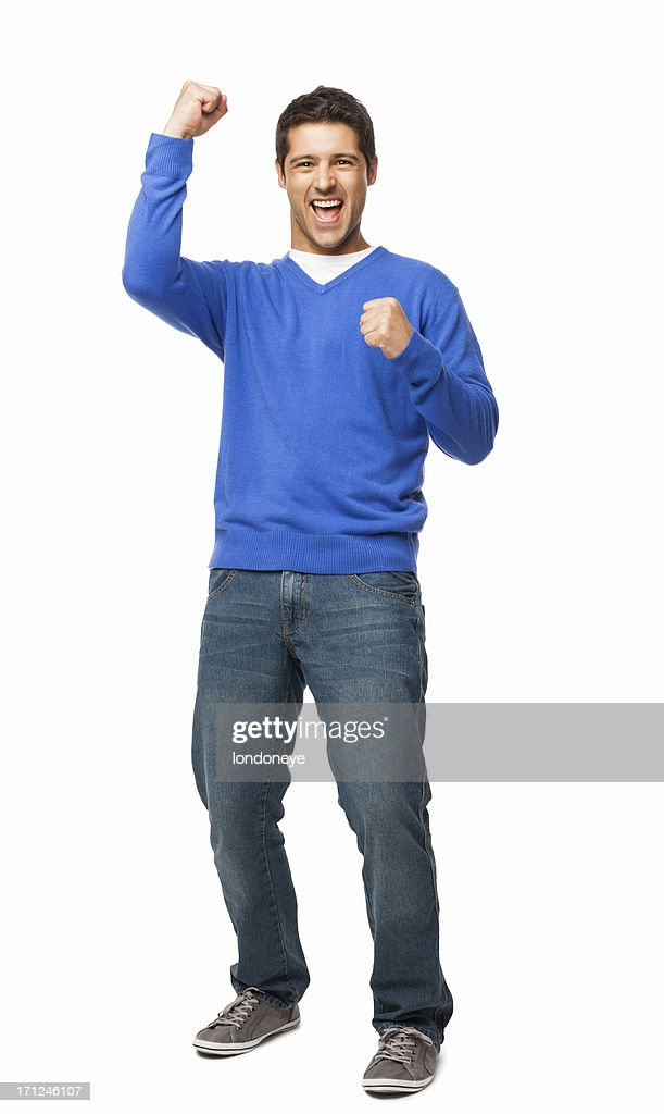Handsome Young Man Cheering - Isolated : Stock Photo