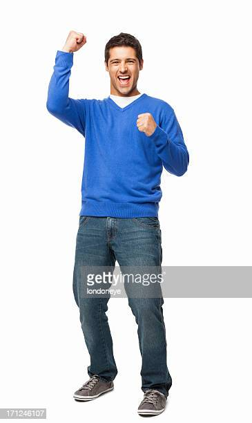 handsome young man cheering - isolated - extatisch stockfoto's en -beelden