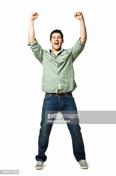 handsome young man cheering - isolated - vreugde stockfoto's en -beelden