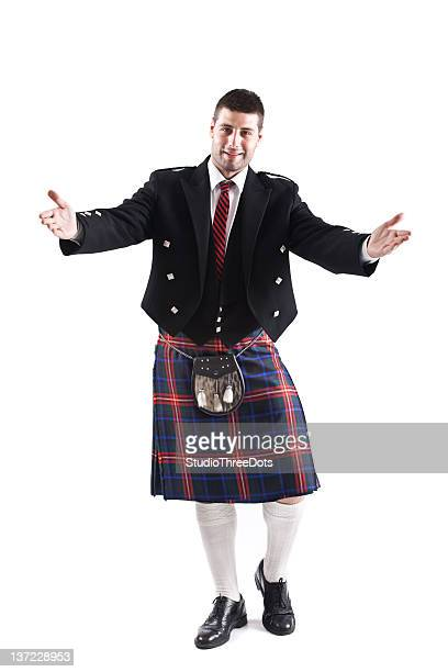 handsome young scotsman - kilt stock photos and pictures