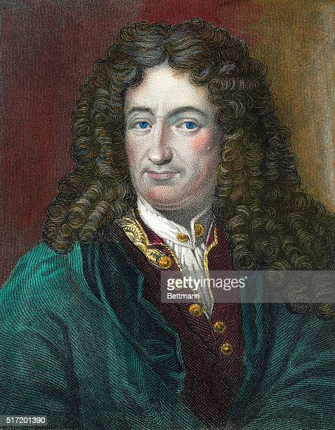 Hand-tinted color engraving of Gottfried Wilhelm Leibniz by B. Holl.