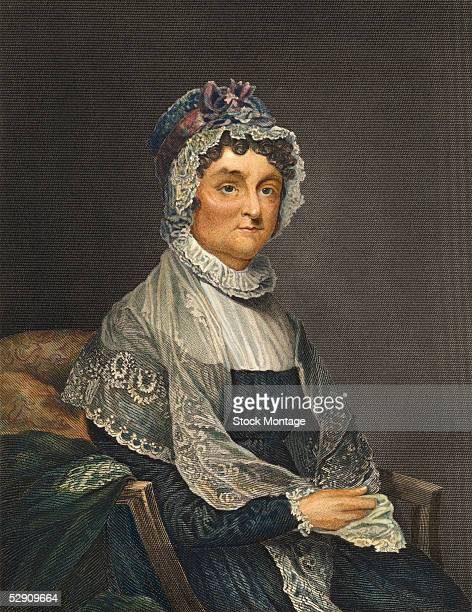 Handtinted engraved portrait of American First Lady and author Abigail Adams late 18th Century She is best known for letters she wrote to her husband...