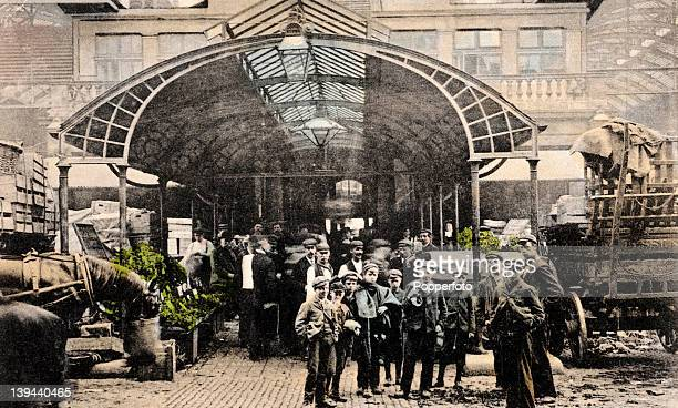 A handtinted vintage postcard of Covent Garden Market London circa 1906