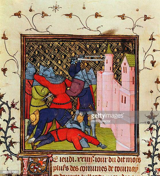 Handtohand fighting with swords in defence of a castle 14th century Detail from a Manuscript in the British Museum