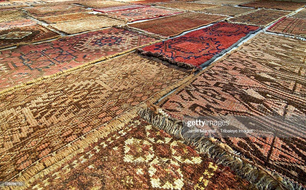 Handwoven rugs, Bukhara, Uzbekistan : Stock Photo