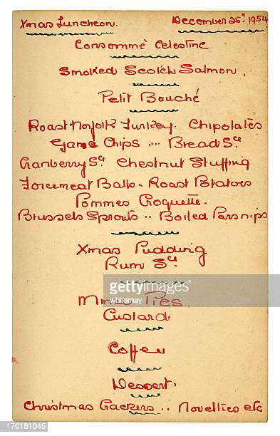 Handwritten 1950s Christmas menu