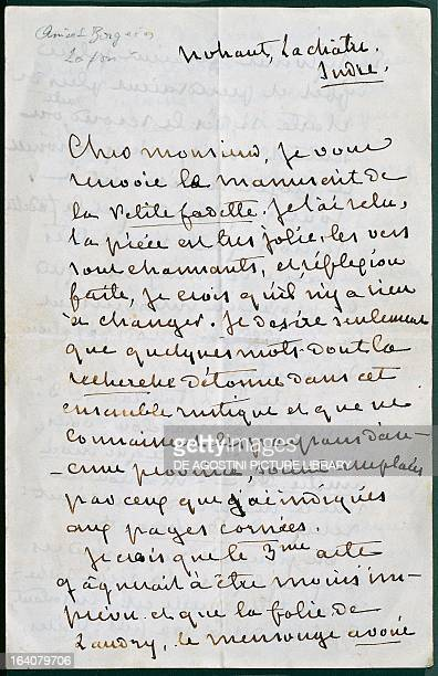 Handwritten letter from George Sand to the dramatist Auguste Anicet-Bourgeois about the vaudeville comedy, Little Fadette, 1850. La Chatre, Musée...