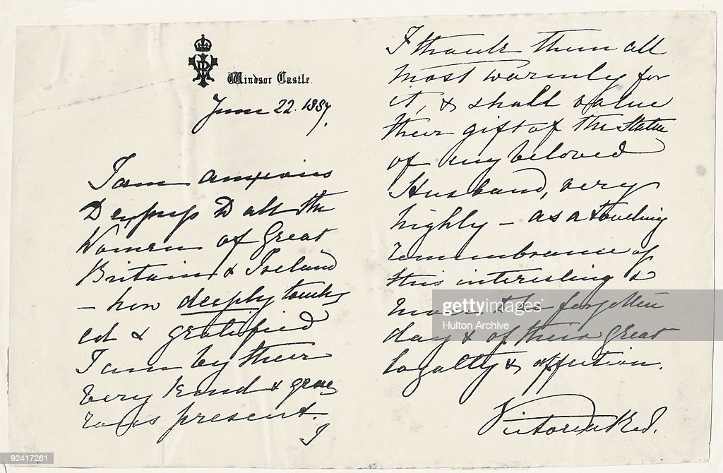 A handwritten letter from Queen Victoria expressing her thanks to all the women of Great Britain and Ireland, 22nd June 1887. The letter, written in the fiftieth year of her reign, is on Windsor Castle headed paper.