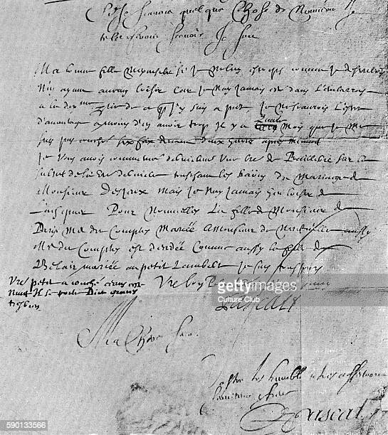 Handwritten letter with signature from Blaise Pascal French mathemetician and physicist to his sister Mme Perie de ClermontFerrand Published in June...