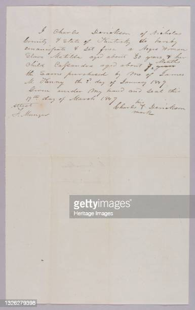 Handwritten manumission paper written in cursive in black in on white paper. The paper reads [I Charles Derickson of Nicholas County & State of...
