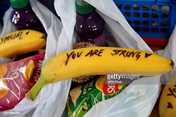 A handwritten message written on fruit by Meghan Duchess of Sussex when she was helping to prepare food parcels to go in the charity outreach van are...