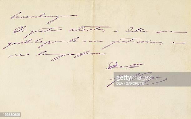 Handwritten note by Giovanni Verga Milan Biblioteca Nazionale Braidense