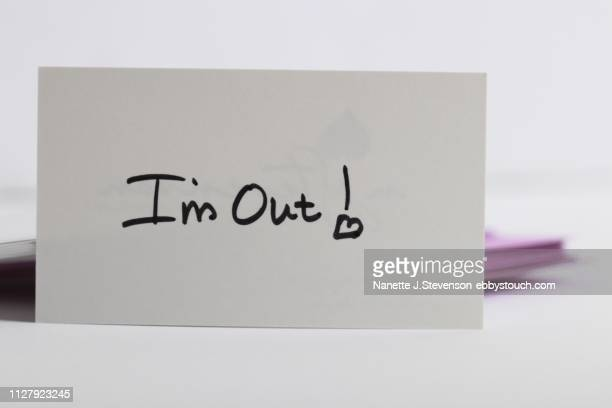 handwritten note on tabletop - nanette j stevenson stock photos and pictures