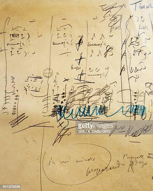Handwritten notes for Turandot by Giacomo Puccini Italy 20th century Torre Del Lago Puccini Museo Villa Puccini