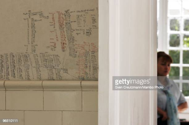 Handwritten notices on the bathroom wall marking the daily weigh of Ernest Hemingway in his house at the Finca Vigia on January 6 2007 in Havana Cuba...