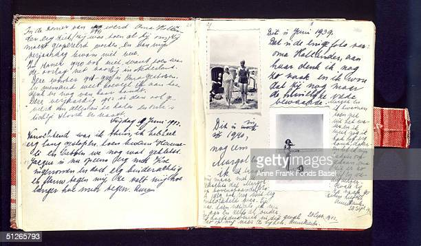 A handwritten page of Anne Frank's diary which she kept during her wartime confinement it includes photographs of her on the beach during a holiday...