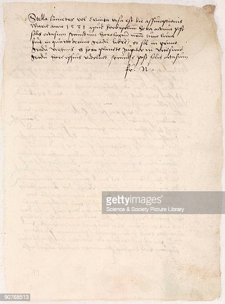 Handwritten page of text describing the appearance of the bright comet that appeared in the heaven in 1531. Detached from a 16th century commonplace...