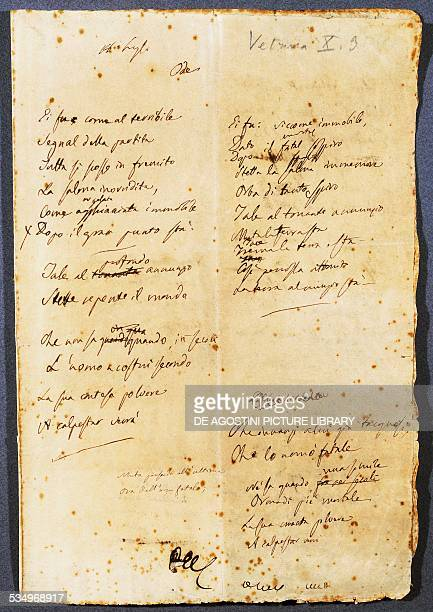 Handwritten page of the Fifth of May poem by Alessandro Manzoni Italy 19th century