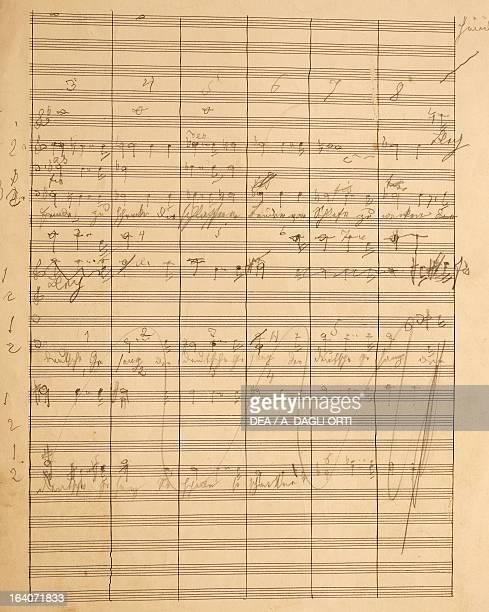 Handwritten score for a song by Anton Bruckner Vienna Gesellschaft Der Musikfreunde