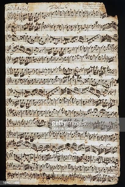 Handwritten score for Cantata No 9 by Johann Sebastian Bach Vienna Gesellschaft Der Musikfreunde