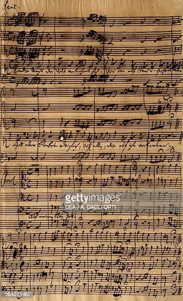 Handwritten score for Cantatas No188, by Johann Sebastian Bach . Vienna, Gesellschaft Der Musikfreunde