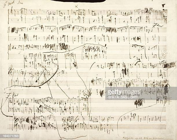 Handwritten score for Mazurka in F minor Opus 68 No 4 by Frederic Chopin Varsavia Muzeum Fryderyka Chopina