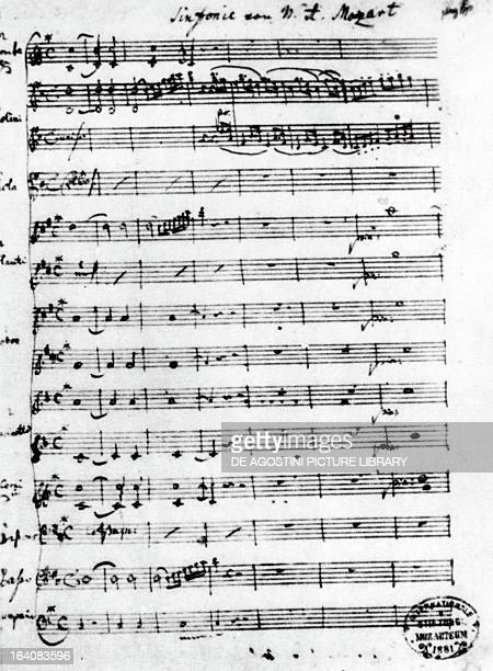 Handwritten score for Symphony in D major known as the Paris Symphony K 297 by Wolfgang Amadeus Mozart Salisburgo Mozarts Geburtshaus Museum