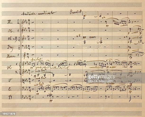 Handwritten score for Symphony No 4 in G major 18991901 by Gustav Mahler Vienna Gesellschaft Der Musikfreunde