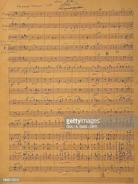 Handwritten score for the Suite for orchestra by Edvard Grieg Bergen Stadtbibliothek Bergen