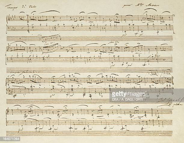 Handwritten score for Waltz in A flat major Opus 69 No 1 by Frederic Chopin Varsavia Muzeum Fryderyka Chopina