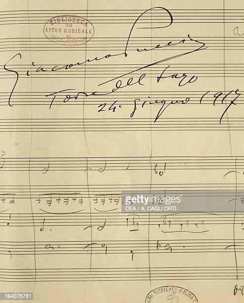 Handwritten sheet music for La Rondine opera by Giacomo Puccini Torre del Lago June 24 1917 Bologna Civico Museo Bibliografico Musicale