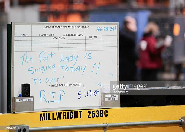 A handwritten sign from the last day of production is seen during a liquidation auction at the permanently shutdown General Motors Co Pontiac...