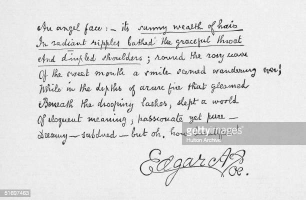 Handwritten text of 'The Angel Face' a short verse by writer Edgar Allan Poe circa 1848